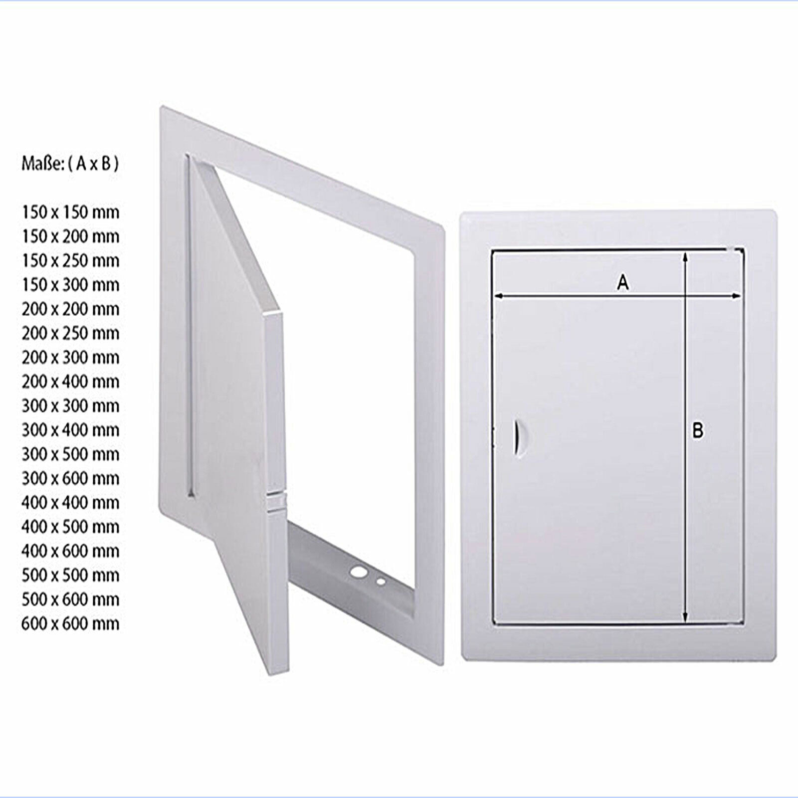 Revisionsklappe 50x50 cm Stahl weiß Revisionstür Reviklappe 500x500 mm