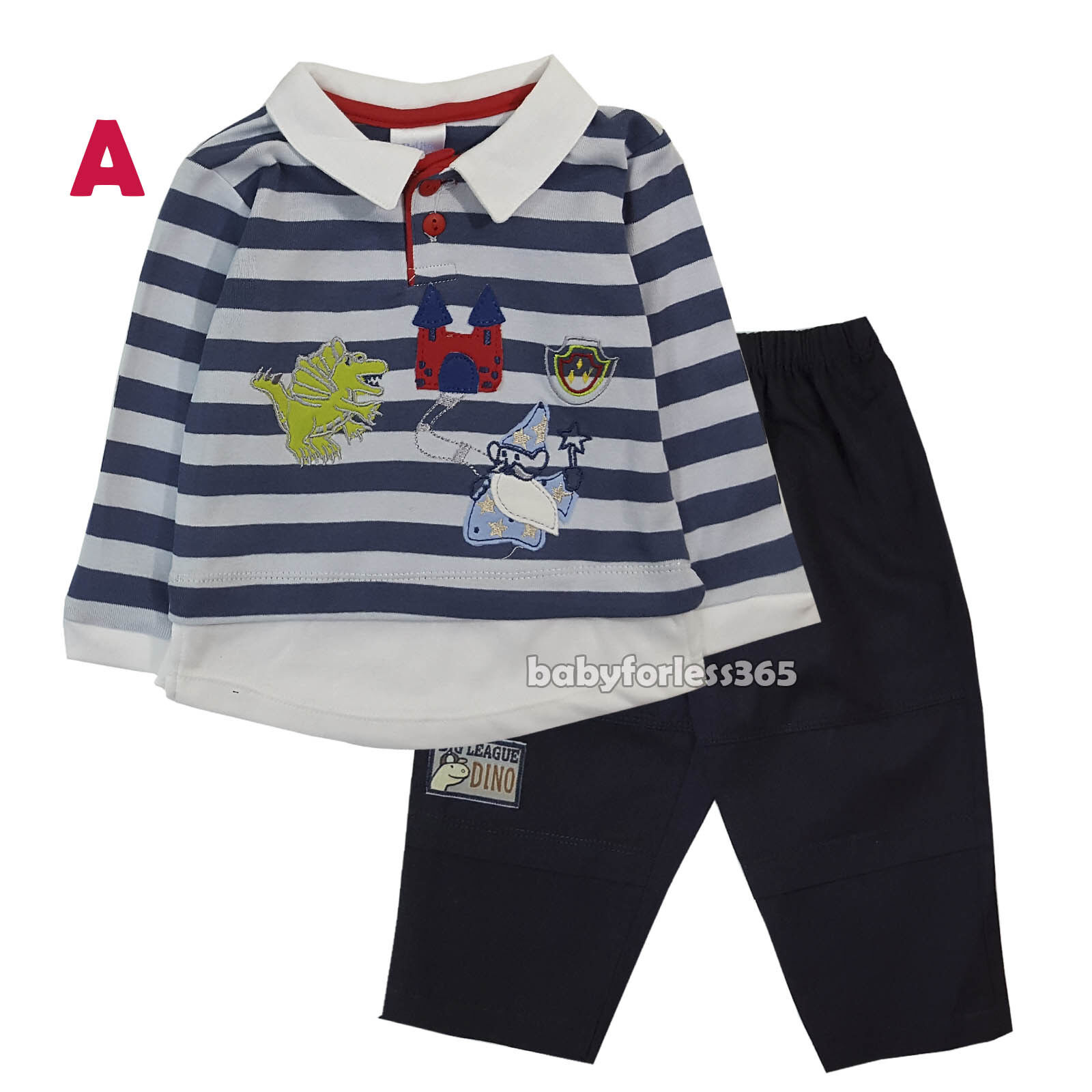 6589309b43f7 New Baby Boys 2 Piece sets long Sleeve Top and Pants Size 3 6 9 ...
