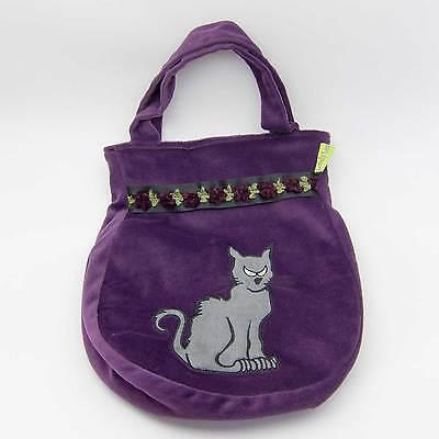 "Lovely Lea HEXEN-TASCHE ""Katze"" Handtasche Halloween Kostüm violett - Satin Hexe Kostüm"