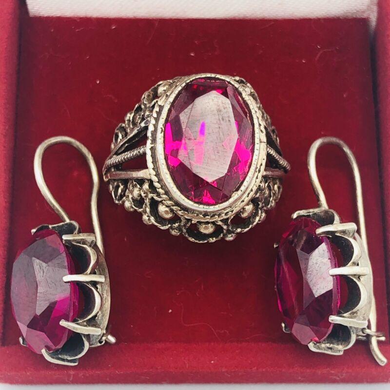 Vintage Soviet set Ring Earrings silver 875 Stones 1960s Size 8
