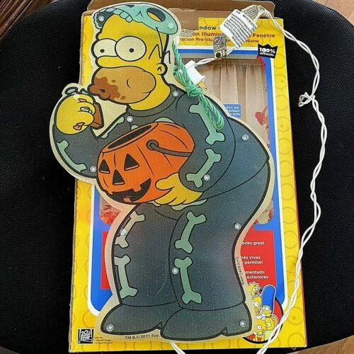 """The Simpsons Skeleton Homer 15"""" Pre-Lit Halloween Window Decor Indoor Outdoor"""