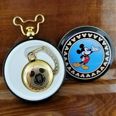 New RARE Gold TN VERICHON Animated Hands Mickey Mouse Icon Pocket Watch