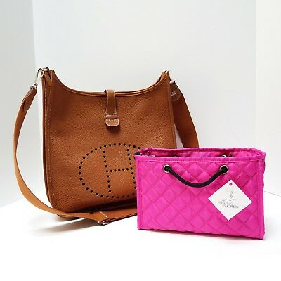 Zoe Handbag Purse - ZOE Quilted Small Pink Handbag Organizer Insert w Base Fits Ur HERMES Bag