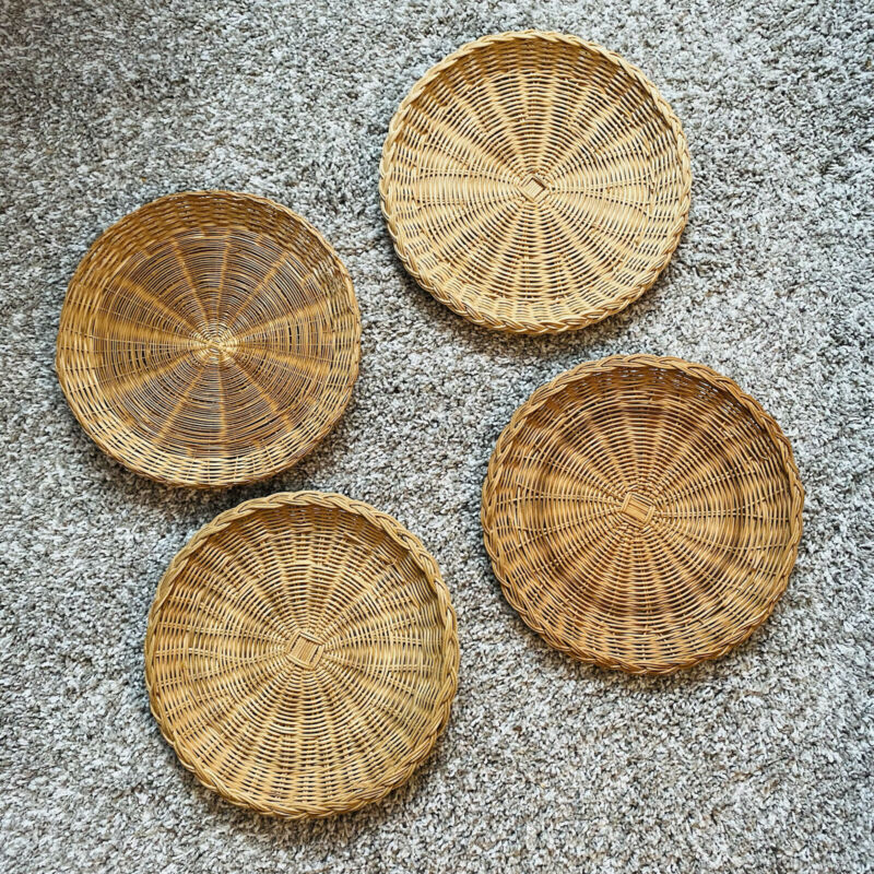 "Vintage Lot of 4 Wicker Basket Plate Holders Boho Farmhouse Wall Decor 10"" L4"