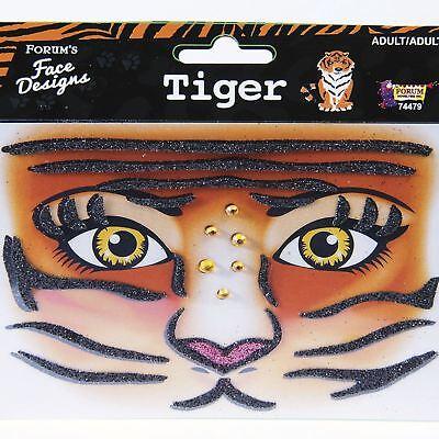 Tiger Cat Glitter Rhinestone Face Stick-On Decals Tattoo Rave Costume Makeup - Tiger Cat Costume
