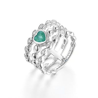 Sterling Silver  925  Green Cubic Zirconia Cz Heart Tri Band Ring  Size 8