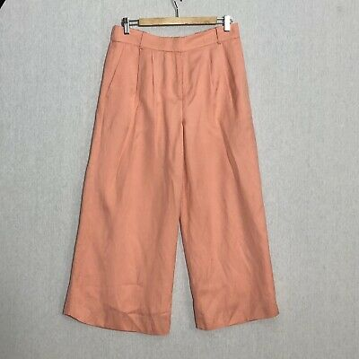 J.CREW Collection Cropped High Rise Wide Leg Pants linen Viscose 6 Peach Orange