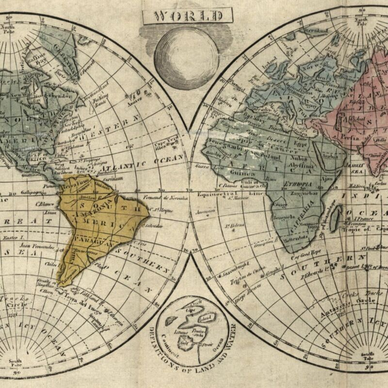 World double hemispheres rare 1808 Dublin produced map with original hand color