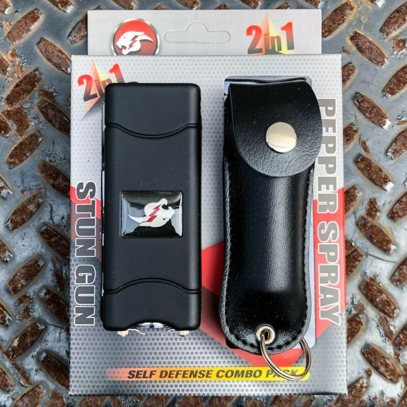 Combo Gift Set Rechargeable Stun Gun+Spray with LED Light - Free Taser Holster