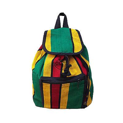 Striped Cotton Reggae Rasta Surfer Hawaii Backpack Sack Bag Hippie Jamaica  17
