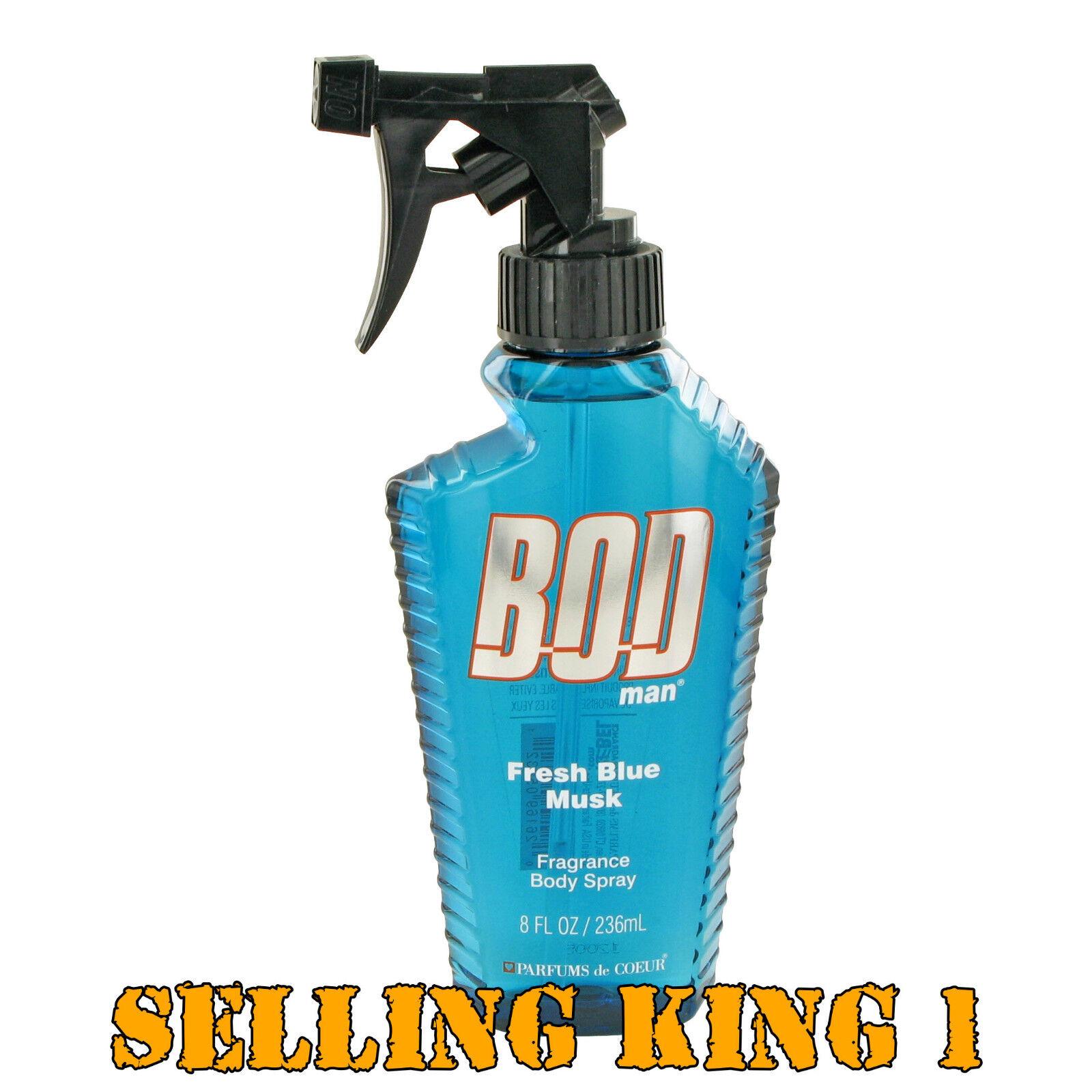 Bod Man Fresh Blue Musk by Parfums De Coeur Body Spray 8 oz