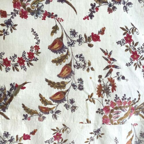 18th century French dress fabric material old cotton hand block printed textile