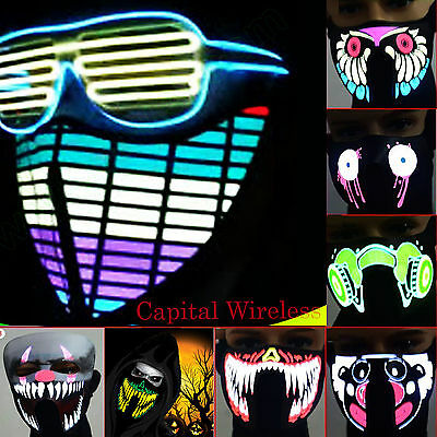 Sound activate Flashing LED Party Costume Mask Bandana US SELLER! FAST SHIPPING! (Sound Activated Mask)