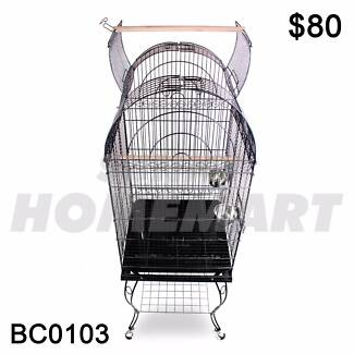 Large Black Arched Roof Pet Bird Parrot Canary Cage Stainless