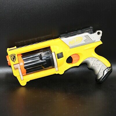 NERF MAVERICK REV-6 N-Strike Yellow 10 Darts Included TESTED WORKING Yellow