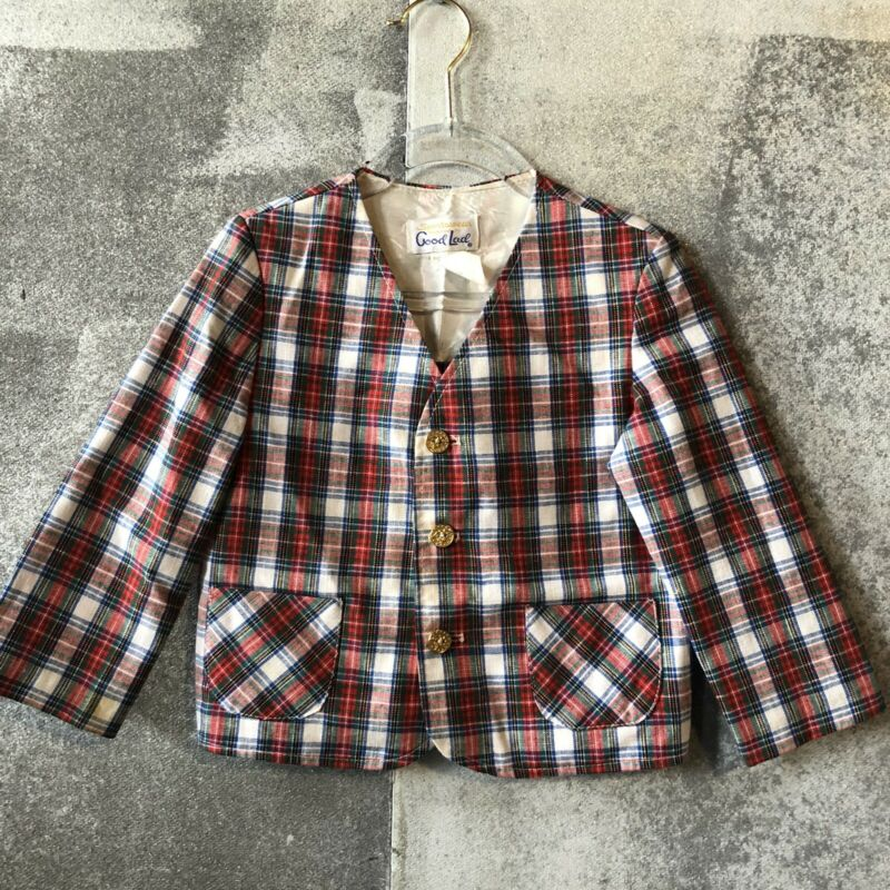 4t Vintage Good Lad Plaid Tartan Jacket Holiday Christmas Gold Buttons