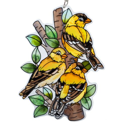"Nested Birds Goldfinch Suncatcher Hand Painted Glass AMIA Studios 4.75"" x 3.25"""