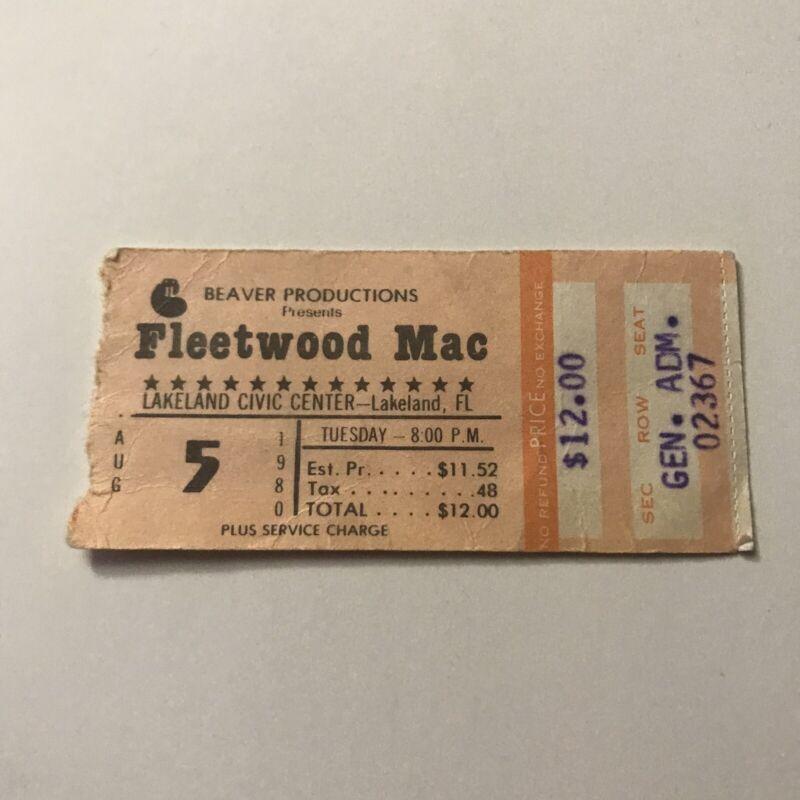Fleetwood Mac Lakeland Civic Center Florida Concert Ticket Stub Vintage Aug 1980