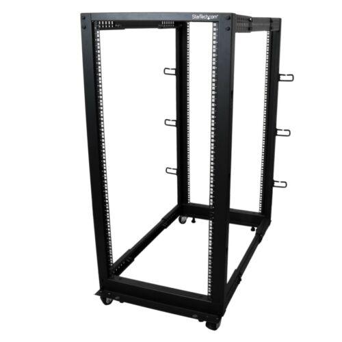 StarTech 25U Adjustable Depth Open Frame 4 Post Server Rack w/ Casters