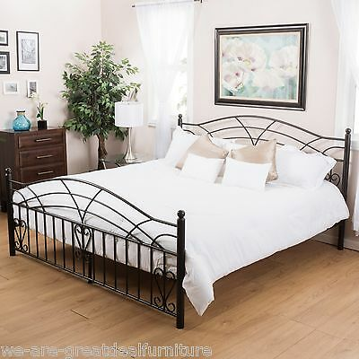 Bedroom Furniture Black Finish Iron Metal King Size Bed