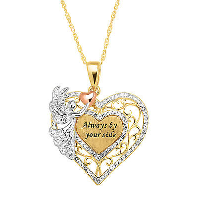 Crystaluxe Heart & Angel Pendant with Swarovski Crystals, 14K Gold-Plated Silver