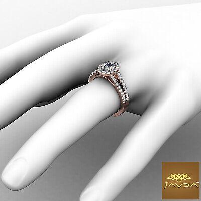 Halo Split Shank Oval Shape Diamond Engagement French Pave Ring GIA I SI1 1.47Ct 10