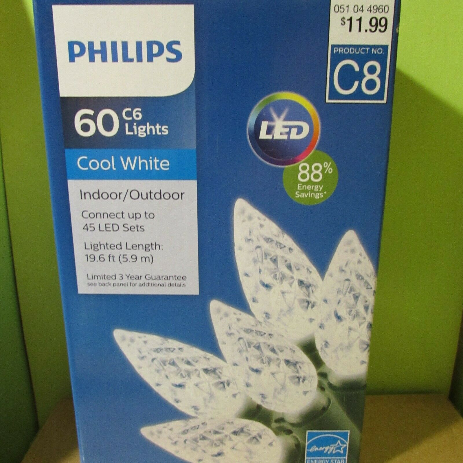 PHILIPS 25 ct Christmas LED C9 Faceted String Lights Cool Wh