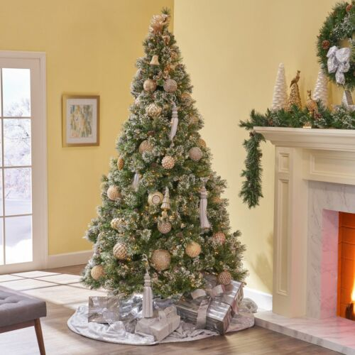 7-foot Cashmere Pine and Mixed Needles Hinged Artificial Christmas Tree with Sno Christmas Trees