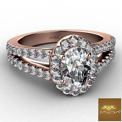 Halo Split Shank Oval Shape Diamond Engagement French Pave Ring GIA I SI1 1.47Ct 8