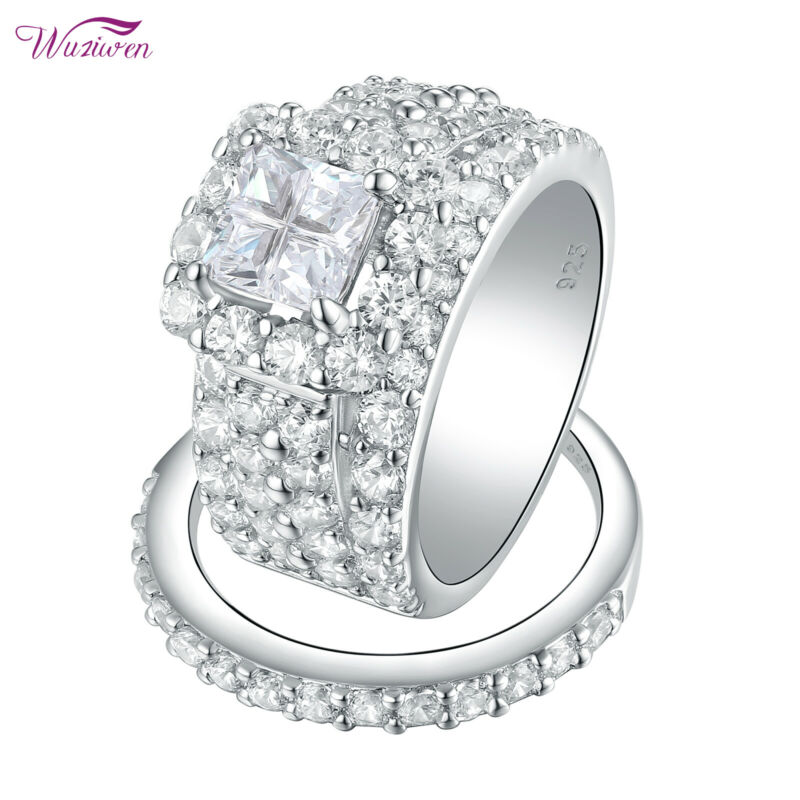 Wuziwen Wedding Engagement Ring Set Women 4ct Princess Aaaa Cz Sterling Silver