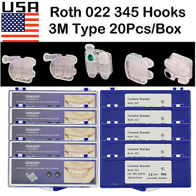 Usa 10boxes Dental Orthodontic Ceramic Bracket Roth 022 Slots 345 Hooks Fit 3m