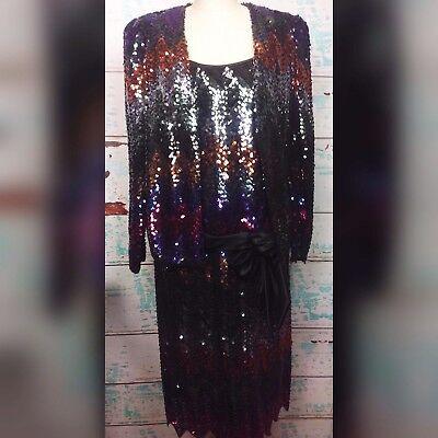 Vtg Norman Berg Denise Fashions Black Sequin Dress Jacket Prom Medium 80s Formal
