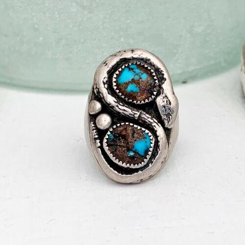 Mens Navajo Snake Sterling Silver 925 Turquoise Southwest Old 30gr Size 11 Ring