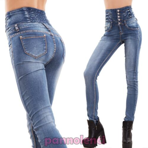 High waist stretch skinny jeans, with bows and decorative rhinestones.  Stonewashed. Sexy, fashion, must-see !!! Taglie  XS   span class
