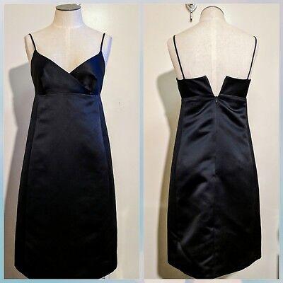 Isaac Mizrahi women's 2 XS black satin little black coccktail dress New York