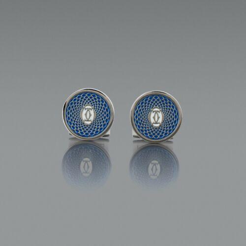 Cartier cufflinks BLUE Silver Mens jewelry Fashion designer Cuff links NEW