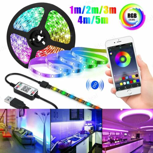 USB LED Light Strip Bluetooth Remote Music 5050 RGB Fairy Li