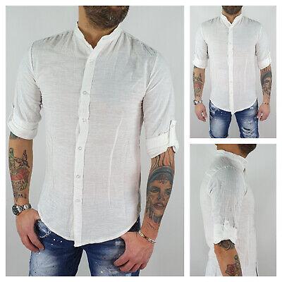 Camicia uomo di lino sartoriale casual Bianco Coreana slim estiva S M L XL XXL