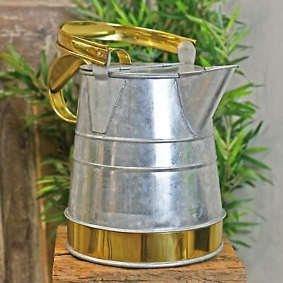 Galvanised & Polished Brass Watering Can - Medium