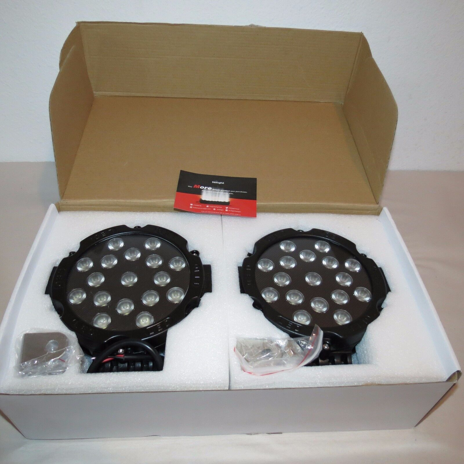 """NILIGHT ROUND SPOT FOG WORK 17-LED DRIVING LIGHTS 51W 7"""" INCH 2 PIECES BLACK"""