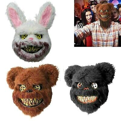 Halloween Costumes Scary Rabbit (Crazy Bloody Plush Bear Bunny Rabbit Mask Scary Halloween Costume Party)