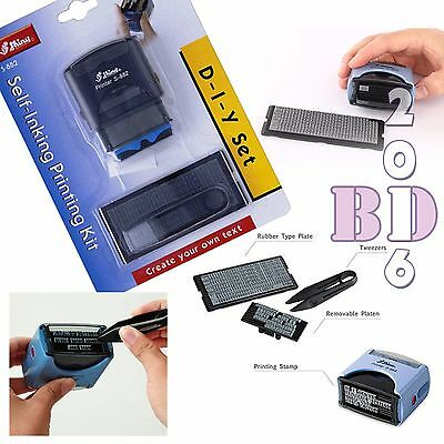 DIY SELF INKING RUBBER STAMP PRINTING KIT 3 LINE PERSONALISED NAME ADDRESS S-882
