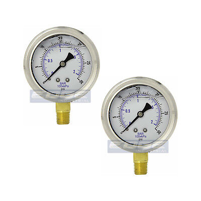 2 Pack Liquid Filled Pressure Gauge 0-30 Psi 2.5 Face 14 Lower Mount Wog