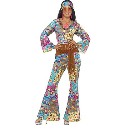 Hippie Flower Power Costumes (Hippy Flower Power Costume 1960's Groovy Hippie Women's Fancy Dress)