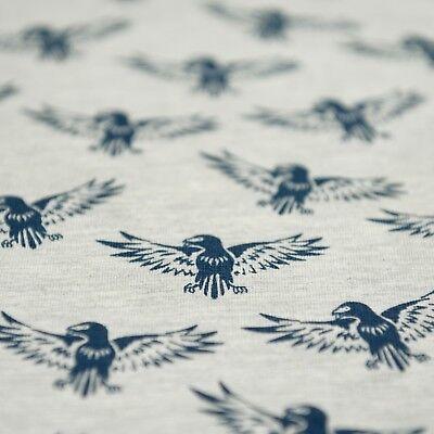 Grey Marl Stretch Loopback Jersey Fabric with Navy Blue Falcon Bird Print, Per M