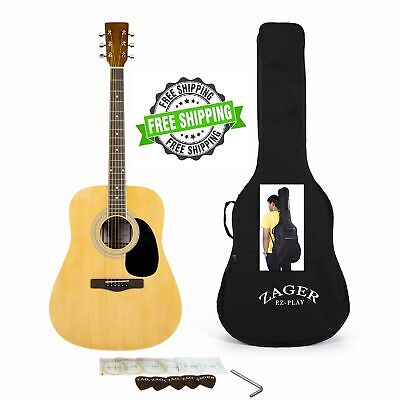 Acoustic Guitar Player Package Full Size Custom Neck Easy Play No Sore Fingers