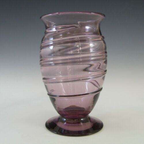 LABELLED Whitefriars #9297 Amethyst Glass Ribbon Trail Vase