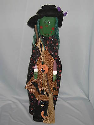 Witch Harvest Figure Hand Carved Black Cat Pumpkin Broom NIB Wooden #HY08
