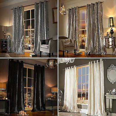 - Kylie Minogue ILIANA - Designer Eyelet Velvet / Ring Top Velour Lined Curtains