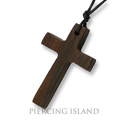 Kreuz Holzkreuz Halskette Kruzifix Anhänger Kette Holz Handarbeit Design N238 (Designer Halskette)